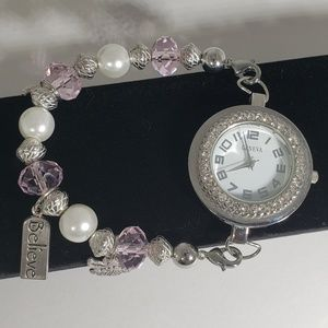Accessories - Geneva Believe in Angels Crystal Pink Beads Watch